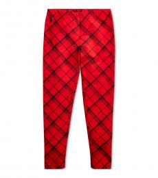 Ralph Lauren Girls Red Plaid Stretch Jersey Leggings