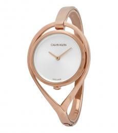 Rose Gold Light Silver Dial Watch