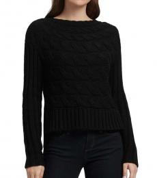 Black Horizontal Cable Knit Sweater