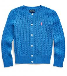 Ralph Lauren Little Girls Dockside Blue Cable-Knit Cardigan