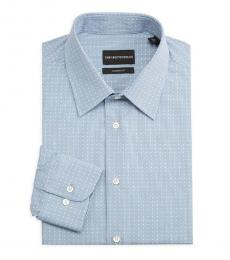 Blue Modern-Fit Geometric Square Shirt