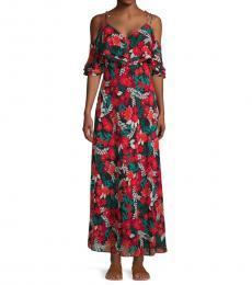 Black Multi Floral Cold-Shoulder Maxi Dress