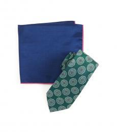 Ted Baker Green Melange Medallion Tie & Pocket Square Set