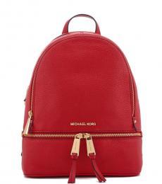 Michael Kors Bright Red Rhea Zip Medium Backpack