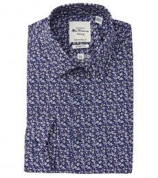 Ben Sherman Dark Blue Tailored Slim Fit Dress Shirt