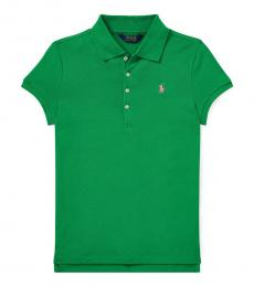 Girls Golf Green Mesh Polo