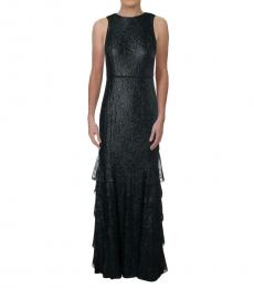 Ralph Lauren Navy Blue Metallic Lace Evening Dress