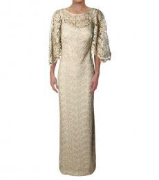 Ralph Lauren Gold Metal Metallic Elbow Sleeve Gown