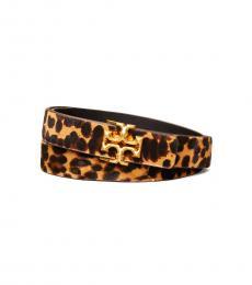 Tory Burch Leopard Kira Logo Belt