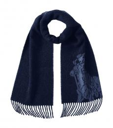 Ralph Lauren Navy Heather Blue Big Pony Scarf