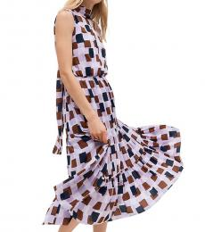 Kate Spade Lilac Geometric Flounce Midi Dress