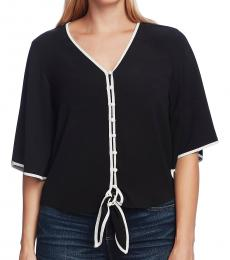 Rich Black-Bell Sleeve Tie Front Blouse