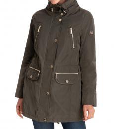 Michael Kors Army Hooded Anorak Raincoat