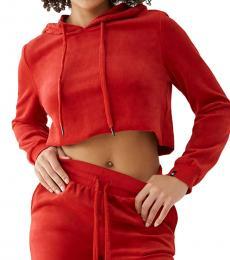 True Religion Ruby Red Velour Crop Hoodie