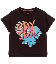 Stella McCartney Little Girls Black Stay Cool T-Shirt