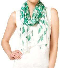 Calvin Klein White Green Leaves Chiffon Scarf