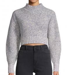 Blue Ribbed Cropped Sweater