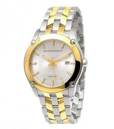 Burberry Silver-Gold Dual Tone Watch
