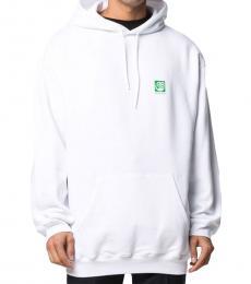 Balenciaga White Logo Print Hoodie