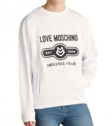 Love Moschino Optical White Logo Sweatshirt