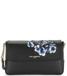 Black Iris Floral Printed Medium Crossbody
