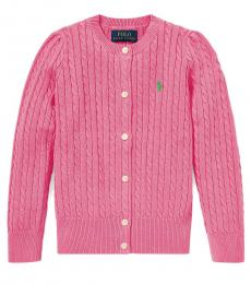 Little Girls Baja Pink Cable-Knit Cardigan