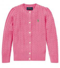 Ralph Lauren Little Girls Baja Pink Cable-Knit Cardigan