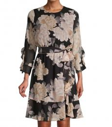 Black Multi Floral-Print Ruffled Belted Dress