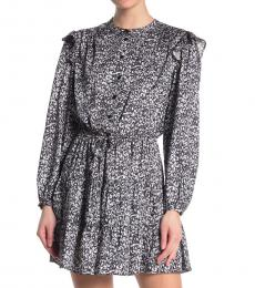 Black Hannah Ditsy Long Sleeve Dress