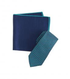 Teal Framed Circle Tie & Pocket Square Set
