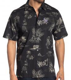 Black-Tropical Print Regular Fit Shirt