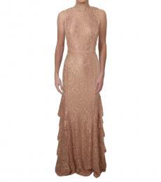 Ralph Lauren Golden Formal Lace Evening Dress