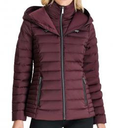 Cherry Hooded Stretch Packable Down Puffer Jacket