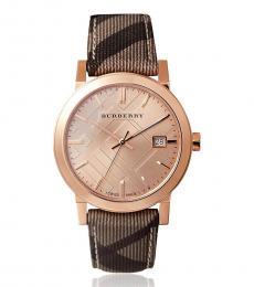Burberry Rose Gold-Beige Haymarket Check Watch