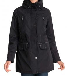 Michael Kors Black Hooded Anorak Raincoat