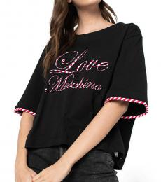 Love Moschino Black Contrast Trim Logo Top