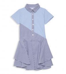 BCBGirls Girls Light Blue Striped Shirtdress