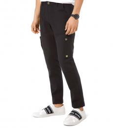 Black Stretch-Cotton Cargo Pants