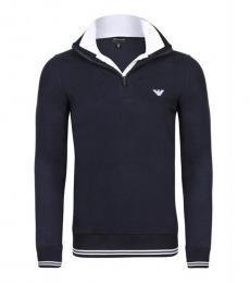 Emporio Armani Navy Contrast Collar Pullover