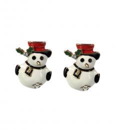 Betsey Johnson Black White Snowman Enameled Earrings