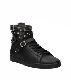 Black Studded Leather Sneakers