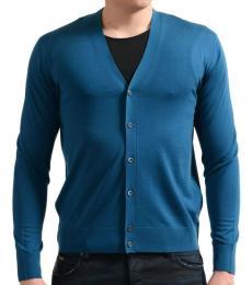 Teal Wool Cardigan Sweater