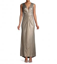 Pale Gold Metallic Knotted Column Gown