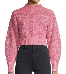 Pink Ribbed Cropped Sweater