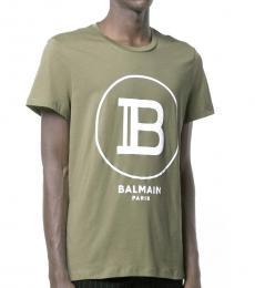 Army Green Logo Print T-Shirt