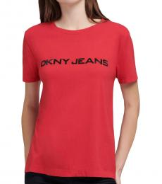 DKNY Red Caviar Crystal Logo T-Shirt