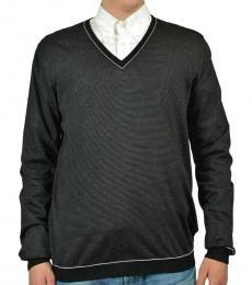 Dark Grey Wool Silk V-Neck Sweater