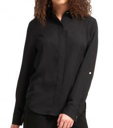 Black  Roll-Tab Sleeve Shirt