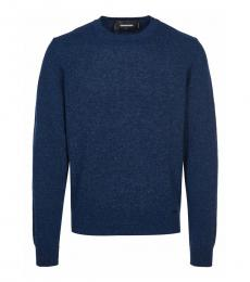 Dark Blue Solid Pullover Sweater