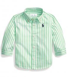 Ralph Lauren Baby Boys New Lime Striped Poplin Shirt